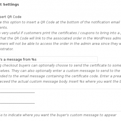 WooCommerce Gift Certificates - QR Code and Message Body Settings