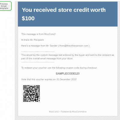 WooCommerce Gift Certificates - Email Message Preview