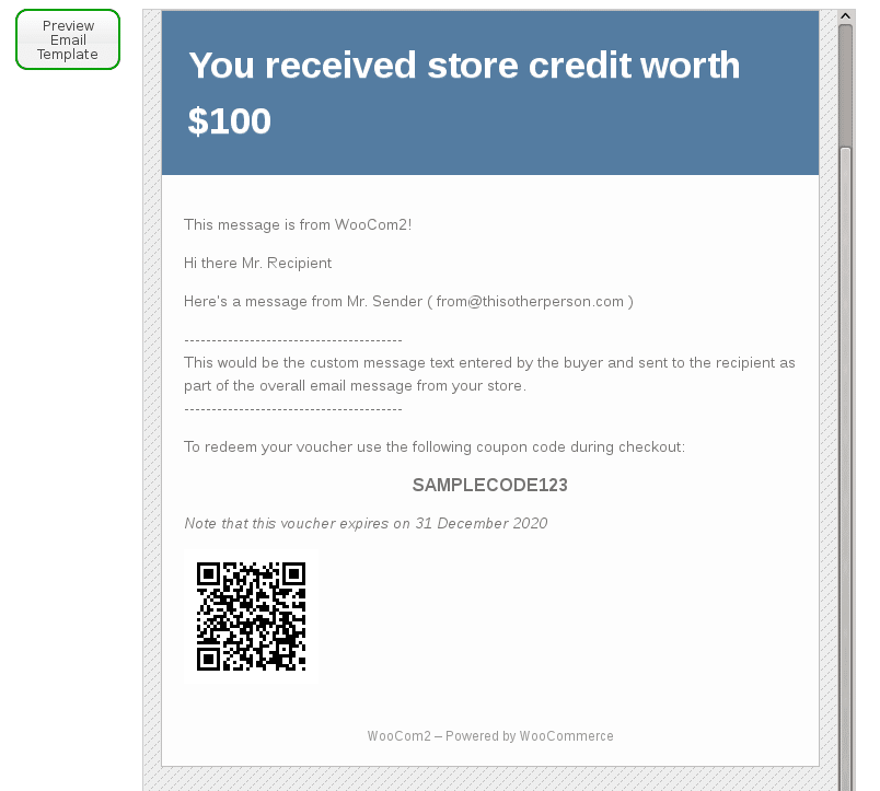 WooCommerce Gift Certificates Pro – Template for Gift Certificate