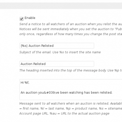 WooCommerce Auctions - Plugin Settings - Part 7