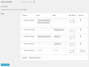 WooCommerce Free Shipping for Users & Roles - Settings