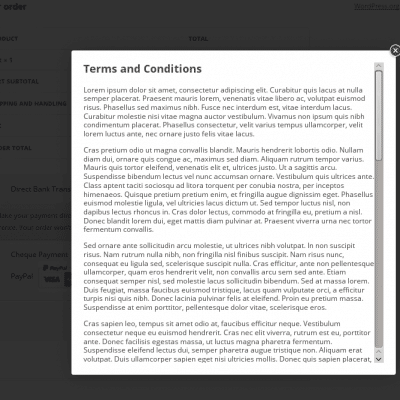 WooCommerce Terms and Conditions Popup Lightbox Example