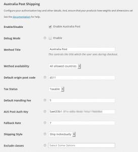 WooCommerce Australia Post & Drop Shipping - SETTINGS