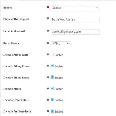 WooCommerce Email Notifications - General Settings