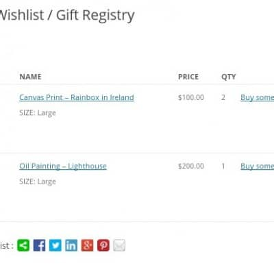 WooCommerce Wishlists - Public view of a wishlist / gift registry