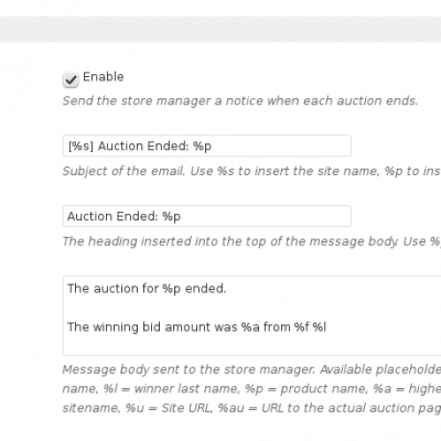 WooCommerce Auctions - Plugin Settings - Part 4