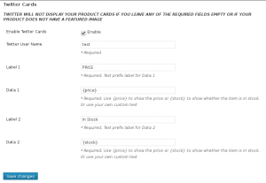 WooCommerce Twitter Product Card Settings