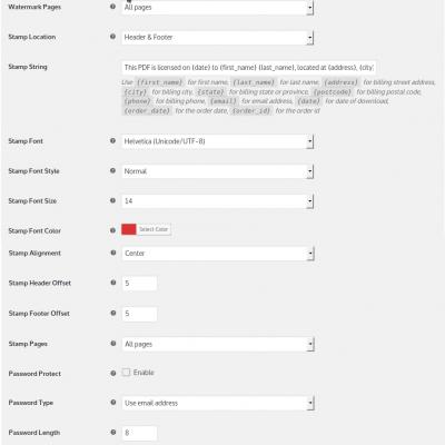 WooCommerce PDF Watermark Settings