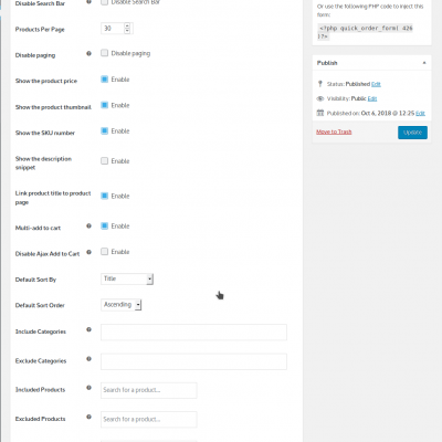 WooCommerce Quick Order Forms / Bulk Order Forms Settings