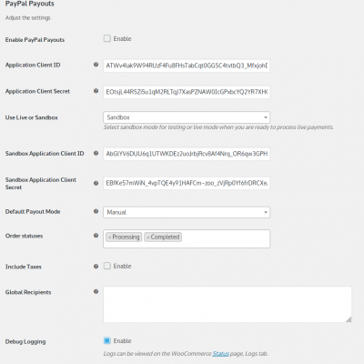 WooCommerce PayPal Payouts Pro Settings