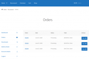 My Account page showing split orders